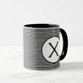 Black Stripe Monogram Mug