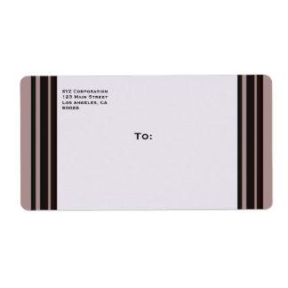 black stripe on purple business shipping label