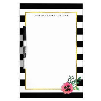 Black Stripe & Pink Floral Dry Erase Board