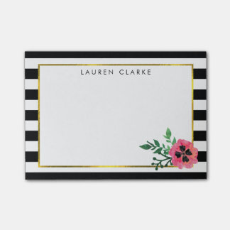Black Stripe & Pink Floral Sticky Notes