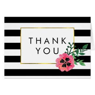 Black Stripe & Pink Floral Thank You Cards