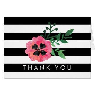 Black Stripe & Pink Floral Thank You Cards