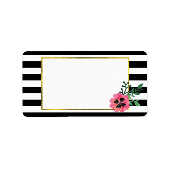 Black Stripe & Pink Floral with Faux Gold Accent Label