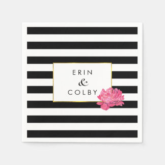 Black Stripe & Pink Peony Disposable Napkin