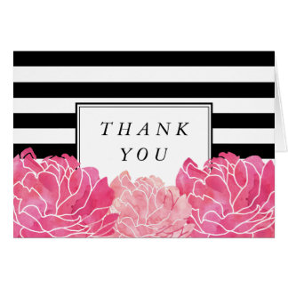 Black Stripe & Pink Peony Thank You Note Card