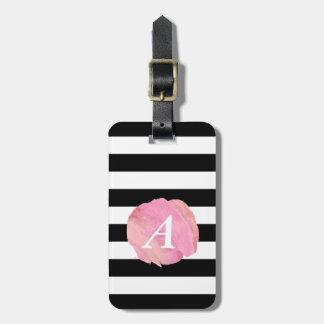 Black Stripe & Pink Watercolor Initial Monogram Bag Tag