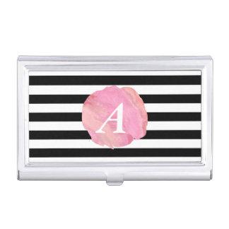 Black Stripe & Pink Watercolor Initial Monogram Business Card Holder
