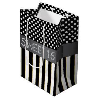 Black Stripe/Polka Dot Diamond Sweet 16 Gift Bag