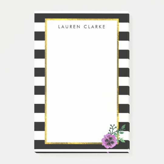 Black Stripe & Purple Pansy Sticky Notes