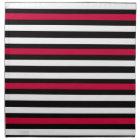Black Stripe Red White Napkin