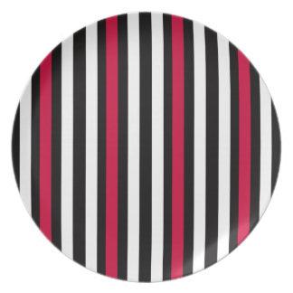 Black Stripe Red White Plate