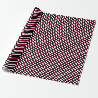 Black Stripe Red White Wrapping Paper