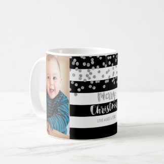 Black Stripe Silver Confetti Photo Merry Christmas Coffee Mug
