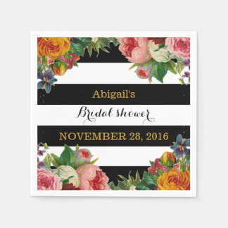 Black Stripe Vintage Floral Bridal Shower Disposable Napkin