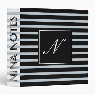 Black Striped Clean  Monogram Personalized Binder
