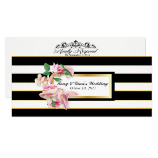 Black Striped Flowers and Doves Wedding RSVP Cards