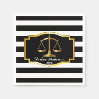 Black Striped Gold Law Scales Graduation Party Paper Napkins