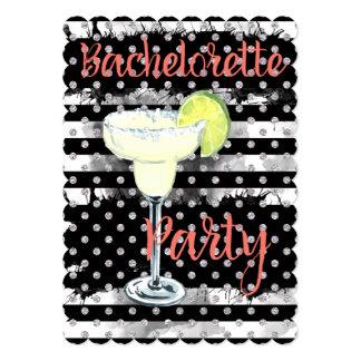 Black Striped Margarita Bachelorette Party Card