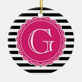 Black Striped Pattern Hot Pink Monogram Round Ceramic Ornament