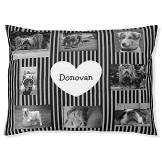 Black Striped Personalized Photo Paw Love Dog Bed