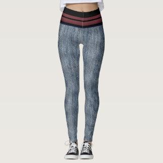 Black Striped Stonewashed Denim Design Leggings