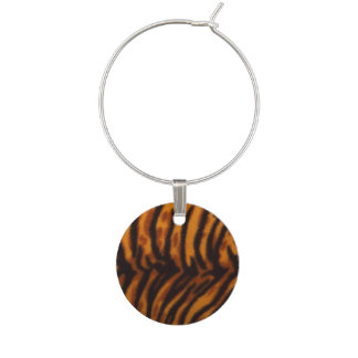 Black Striped Tiger fur or Skin Texture Template Wine Glass Charm