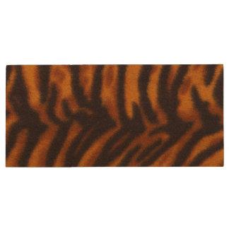 Black Striped Tiger fur or Skin Texture Template Wood USB Flash Drive