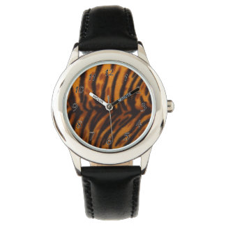 Black Striped Tiger fur or Skin Texture Template Wrist Watches