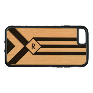 Black Stripes and Chevrons with Monogram on Wood Carved iPhone 8/7 Case