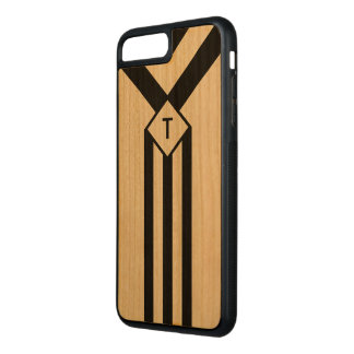 Black Stripes and Chevrons with Monogram on Wood Carved iPhone 8 Plus/7 Plus Case