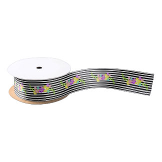 Black Stripes and Flowers Ribbon Satin Ribbon