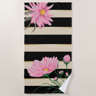 Black Stripes and Pink Flowers CHOOSE BACKGROUND Beach Towel