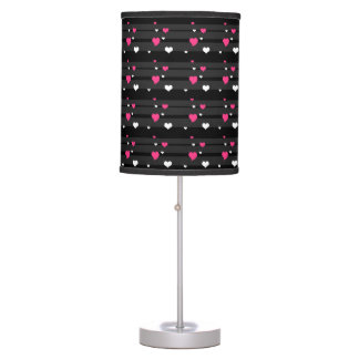 BLACK STRIPES AND PINK HEARTS DESIGN TABLE LAMP