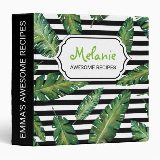 Black stripes banana leaf tropical summer pattern 3 ring binder