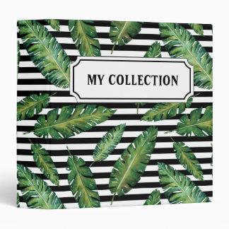 Black stripes banana leaf tropical summer pattern 3 ring binder