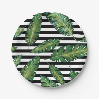 Black stripes banana leaf tropical summer pattern 7 inch paper plate