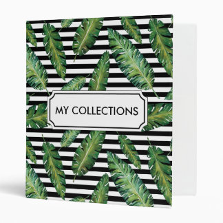 Black stripes banana leaf tropical summer pattern binder