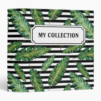 Black stripes banana leaf tropical summer pattern binders