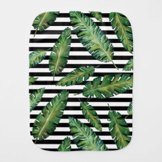 Black stripes banana leaf tropical summer pattern burp cloth