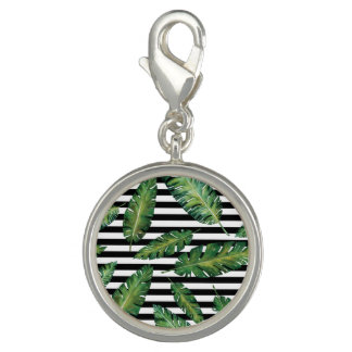 Black stripes banana leaf tropical summer pattern charm