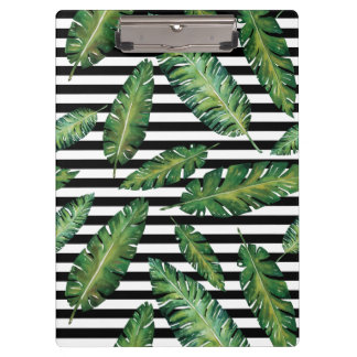 Black stripes banana leaf tropical summer pattern clipboard