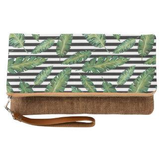 Black stripes banana leaf tropical summer pattern clutch