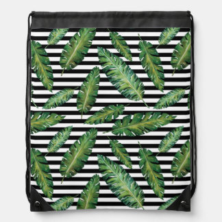 Black stripes banana leaf tropical summer pattern drawstring bag