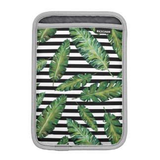Black stripes banana leaf tropical summer pattern iPad mini sleeve