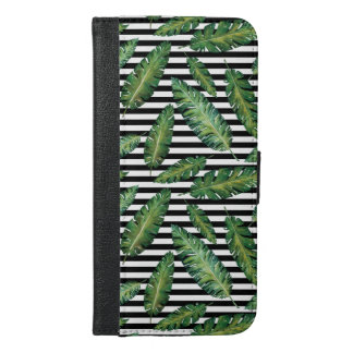 Black stripes banana leaf tropical summer pattern iPhone 6/6s plus wallet case