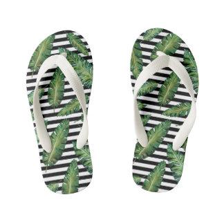Black stripes banana leaf tropical summer pattern kid's flip flops