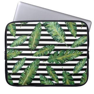 Black stripes banana leaf tropical summer pattern laptop sleeve