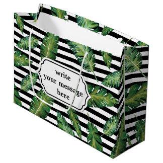 Black stripes banana leaf tropical summer pattern large gift bag
