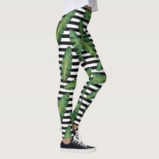 Black stripes banana leaf tropical summer pattern leggings