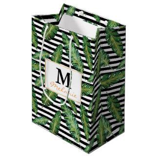 Black stripes banana leaf tropical summer pattern medium gift bag